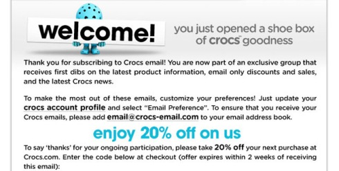 Crocs 20% Off Welcome Coupon