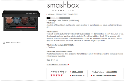 Smashbox Cream Eye Liner Palette ($55 Value)